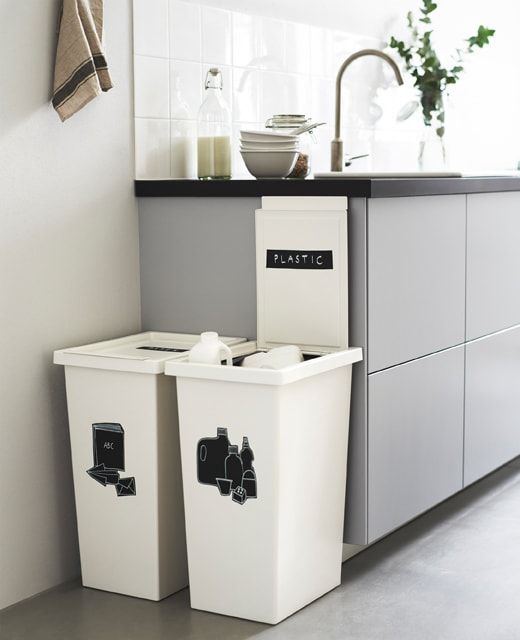 Two Large White Bins Next To A Kitchen Counter Are Labeled For Recycling Ikea Kokkener Ikea Ideer Kokkenopbevaring