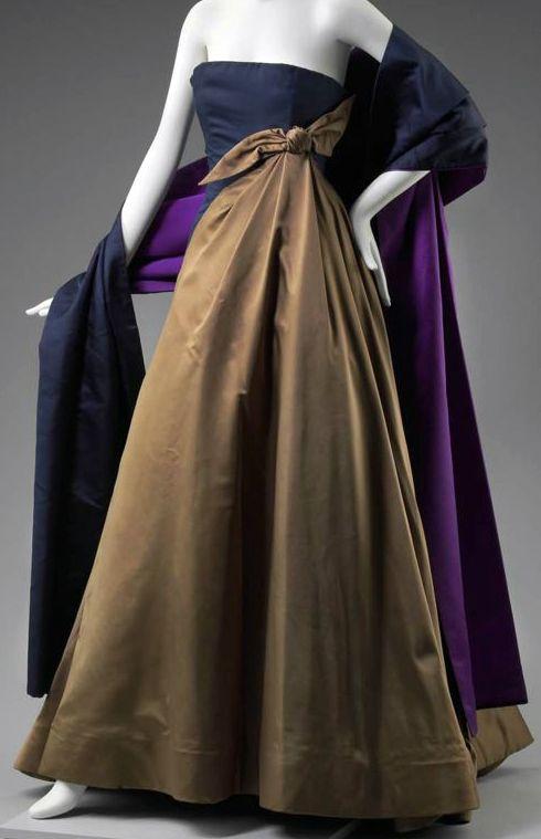 Arnold Scaasi - Robe de Cocktail Bustier - Satin de Soie Marron, Marine et Violet - Diahann Caroll - 1983