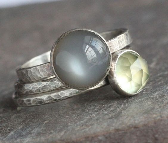 hammered oxidized silver rings