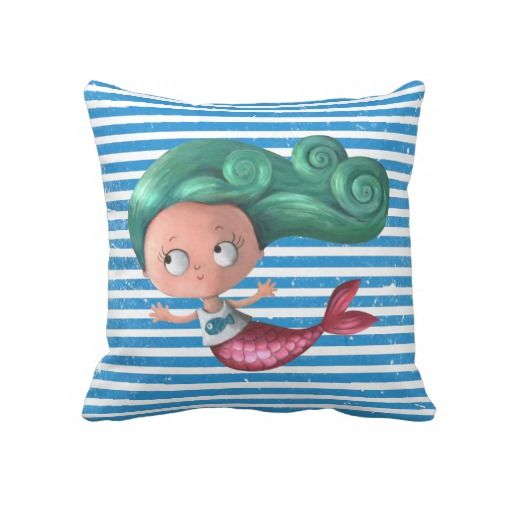 Cute Little #Mermaid Throw #Pillow