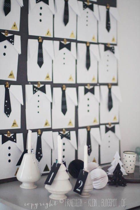 """""""Männlicher"""" Adventskalender:  Ich habe dafür 24 weiße Papiertüten zu Hemden gemacht. Dazu habe ich oben die Tüte umgefaltet und in der Mitte eingeschnitten, so dass sie wie ein Hemd aussieht. Daran habe ich aus schwarzem Fotokarton ausgeschnittene Krawatten und Fliegen angeklebt."""