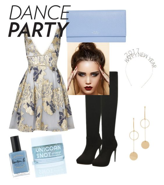 """""""2017 dance party"""" by fashionbeep ❤ liked on Polyvore featuring Notte by Marchesa, Smythson, Cloverpost and Lauren B. Beauty"""