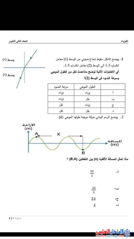 امتحان فيزياء استرشادي مهم لتانية ثانوي ترم أول Chart Line Chart Diagram