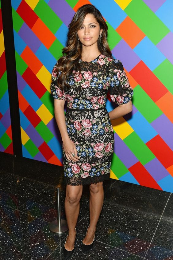 Camila Alves attended a screening of new film Mud wearing a floral lace-trimmed dress by Dolce & Gabbana and Casadei heels.