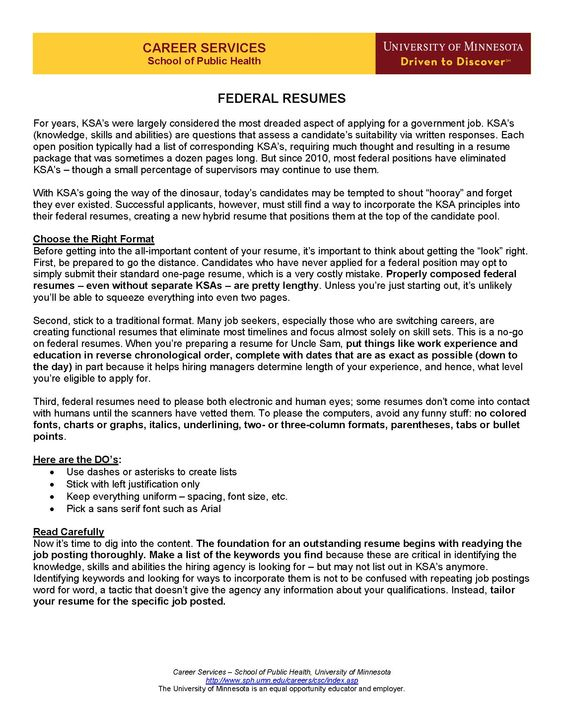 Resume Writing - applying for a federal job For my hubby - federal resumes