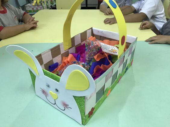 Ninho de Páscoa feito com caixa de sapato .  Educação infantil.