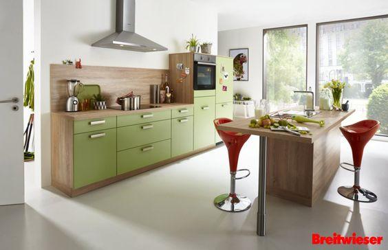 PINO | Einbauküche Front Avocado, Arbeitsplatte Und Korpus In Sonoma Eiche.  Deine Küche Mit Etwas Mehr Farbe! | Küchen Zum Träumen | Pinterest