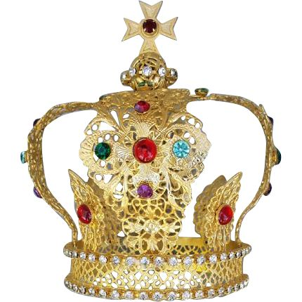 Offering a large antique, religious, royal Santos Crown with exquisite filigree metal, set with sparkling, multi colored, paste stones. Of French