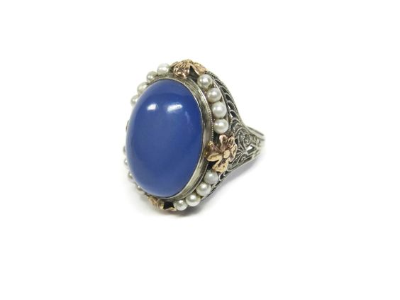 Antique Art Deco 10K White and Rose Gold Chalcedony Seed Pearl Ring Size 7 - pinned by pin4etsy.com