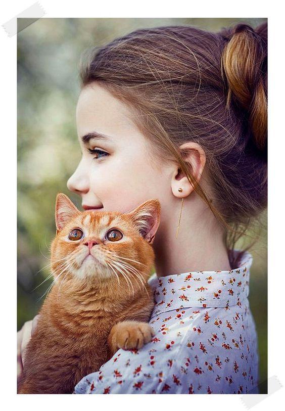 아름다운 사진 소녀와 고양이