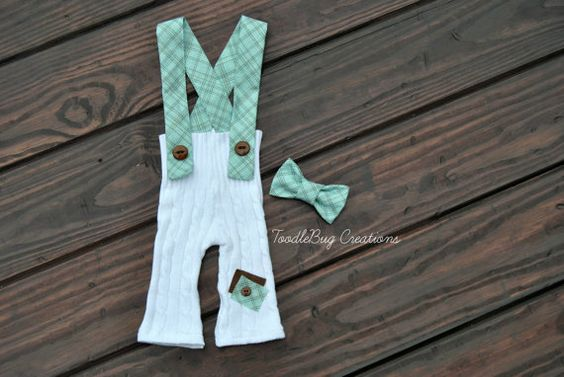 Newborn Photography Pants  Upcycled White Cable Knit Pants with Blue and Brown Suspenders and Bow Tie by ToodleBugCreations, $26.50