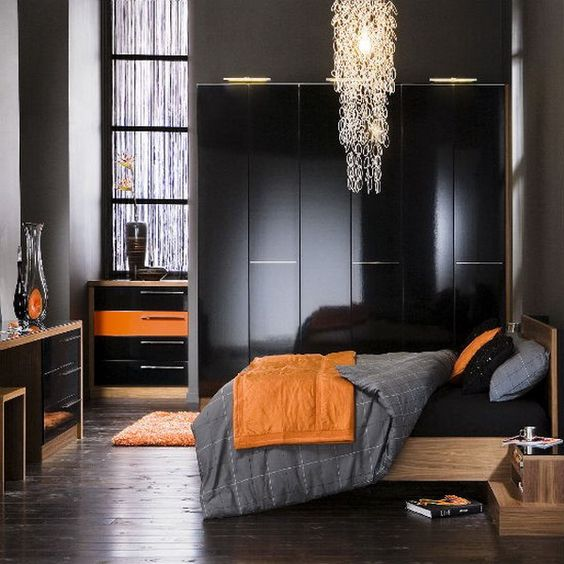 I Really Like The Gray Black Orange Combo Or Red Instead Of House Ideas Pinterest Dark Bedroom And