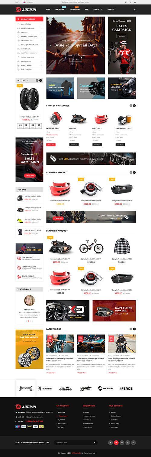 Autusin Auto Parts Car Accessories Shop Elementor Woocommerce Wordpress Theme
