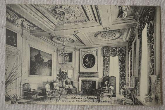 Château de Balleroy (Normandie): le premier salon. Photo: photographe inconnu / A. Duboscq (Commes), vers 1910.  eBay 251654925383.