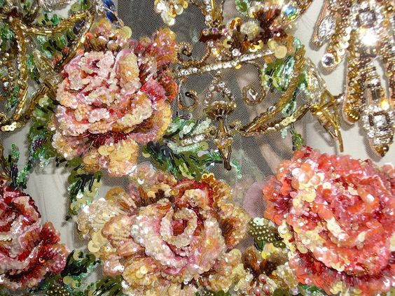 Another example of embroidered flowers in sequins and beads, Haute Couture.