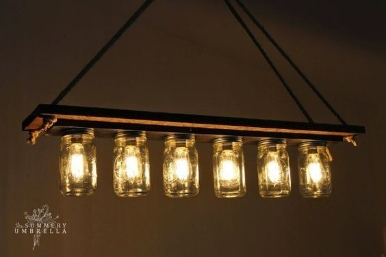 upcycle it! a bath vanity fixture becomes a mason-jar chandy
