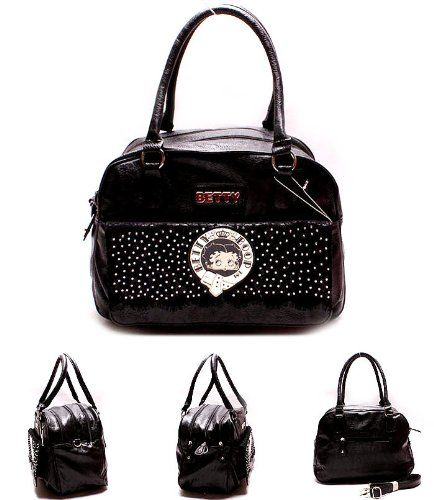 Betty Boop Black w/Rhinestone & Crystal & Gold Hardware Cross Body Bag by Jersey Bling - The Online Handbag Boutique: Sale Price: $45.99