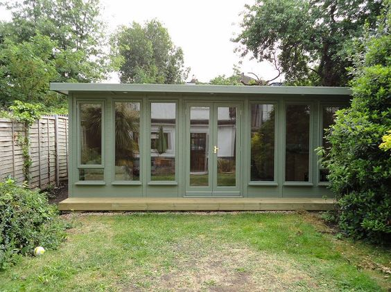 A timber garden office garden workspace pinterest for Garden office and shed