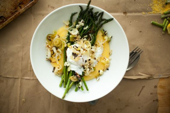 asparagus poached eggs over grits (anything over grits!) from happyolks-26