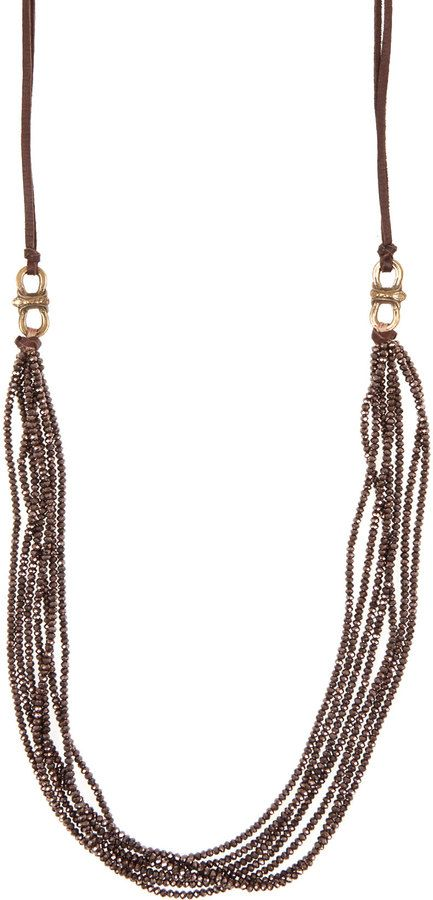Cynthia Dugan Dark Brown Seven Strand Crystal And Leather Necklace on shopstyle.com