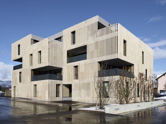 travertine blade facade apartment block - 16no units - duplex or - k chen sp lbecken granit