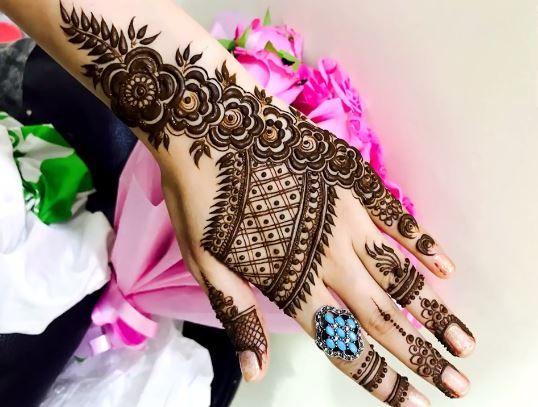 Dubai Style Rose Pattern Mehendi Design For Hand Step By Step
