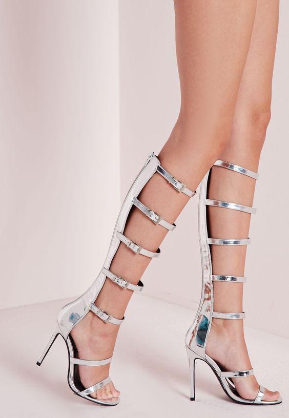 Silver Gladiator Heels | Tsaa Heel