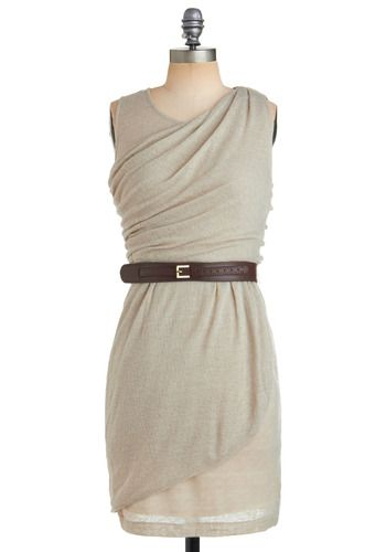 This dress is fabulous! I love the neutral color (perfect for accessories!) and the belt at the waist. This is a great dress for work, and then so easy to dress up a little for date nights.  By ModCloth