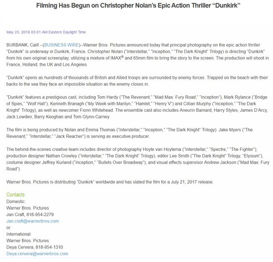 May 23, 2016: Warner Bros. Press Announcement: James D'Arcy in the cast of Dunkirk. http://www.businesswire.com/news/home/20160523005399/en/Filming-Begun-Christopher-Nolan%E2%80%99s-Epic-Action-Thriller