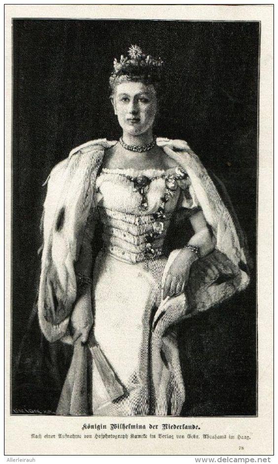 """Königin Wilhelmina der Niederlande  - Druck , entnommen aus """"die Gartenlaube""""…"""