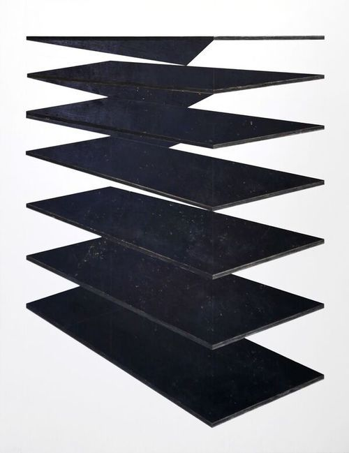 Michael Zelehoski, Dark Planes, 2015. Assemblage with repurposed wood and phenolic plywood. 188 x 143 cm / 74 x 56 in.