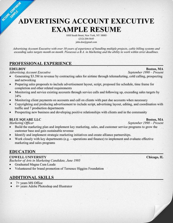 Advertising Account Executive Resume Example (resumecompanion - advertising manager sample resume