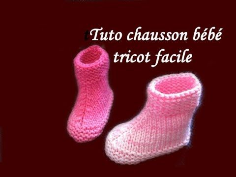 TUTO TRICOT CHAUSSON BEBE BOOTIES AU TRICOT FACILE EASY KNIT BABY BOOTIES