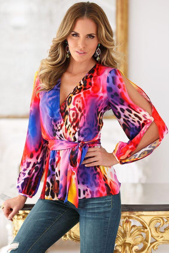 Boston Proper Vibrant animal blouse #bostonproper