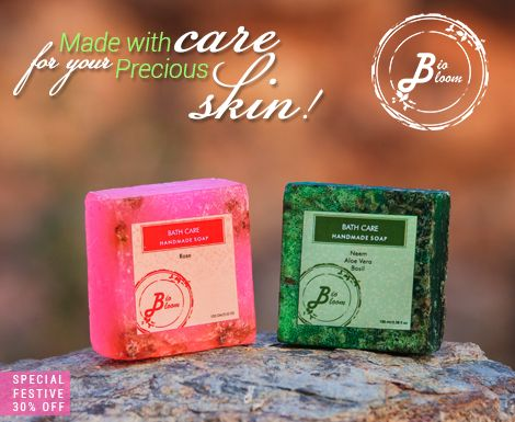 Divine aroma of Roses & goodness of Neem bagged in our 'Hand Made' Soaps for your precious skin. Use coupon code BIOSOAPS30 & get a special festive 30% Off on our Soaps, valid till 31st Aug.