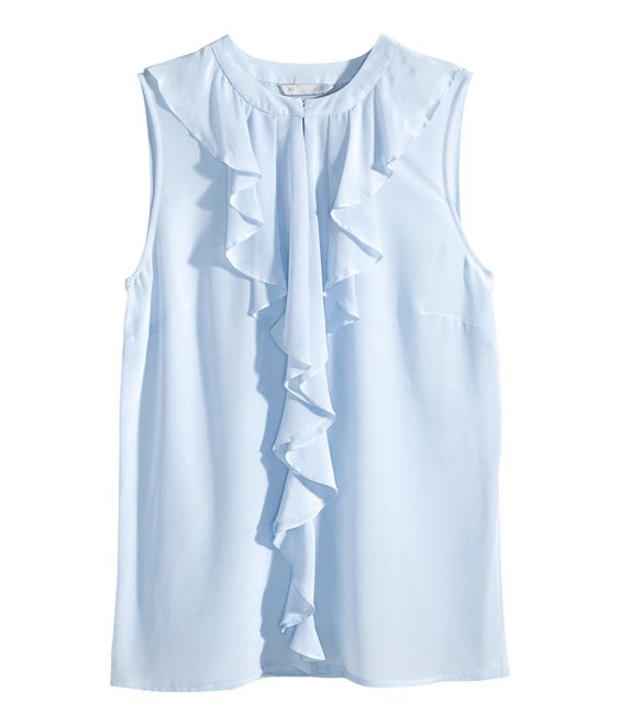 Powder blue sleeveless, fitted blouse with premium-quality ...