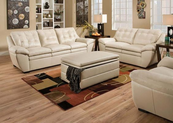 Modern Pearl White Leather Tufted Sofa Couch Loveseat Living Room