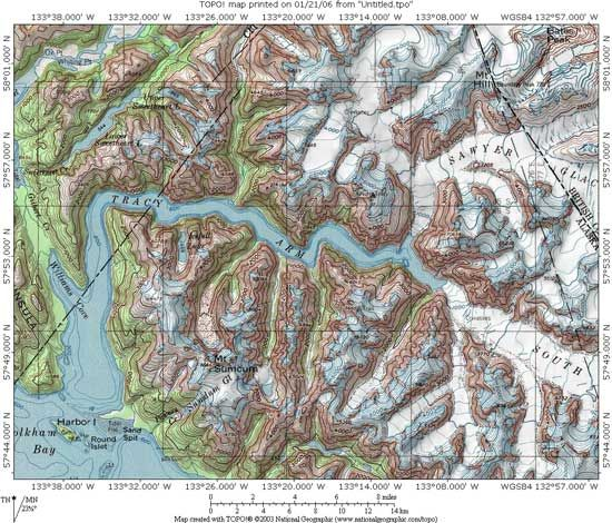 Tracy Arm Fjord Map