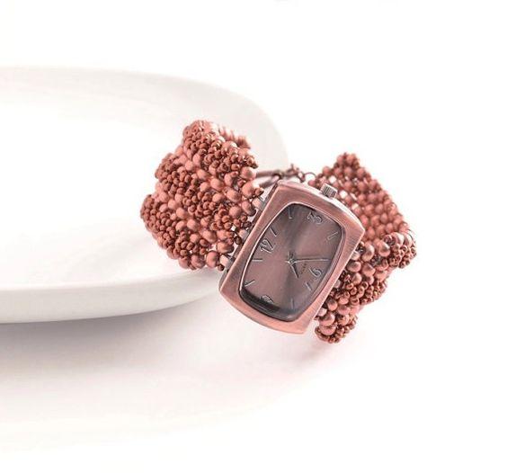 Copper Ladies Watch Beaded Band Watch Copper Bracelet by JPJbeaded, $86.00