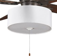 Drum lamp shade ceiling fan kit for master