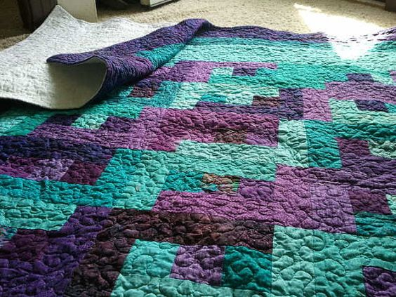 Purple Quilt Teal Quilt Hand Dyed Made To Order Hand
