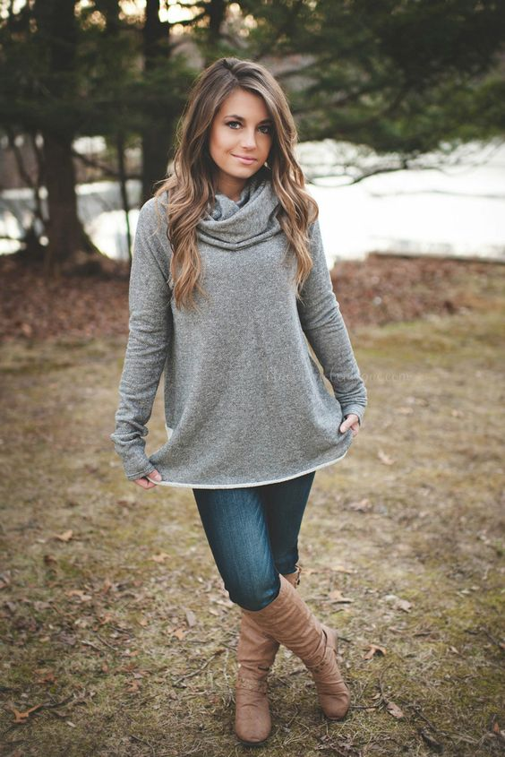 Grey Cowl Neck Tunic Sweater