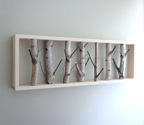 Ce tableau original est composé de branches de bouleau