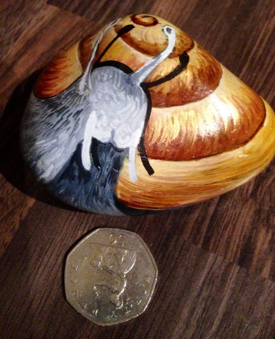 Hand painted rock snail