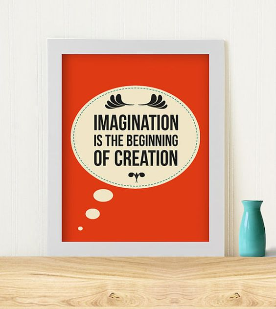 Original Art Print Imagination is the beginning of by Typomaid, $13.00