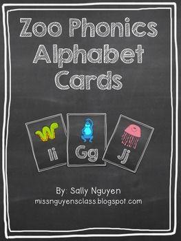 Zoo Phonics Chalkboard Alphabet Cards | Alphabet cards, Alphabet ...