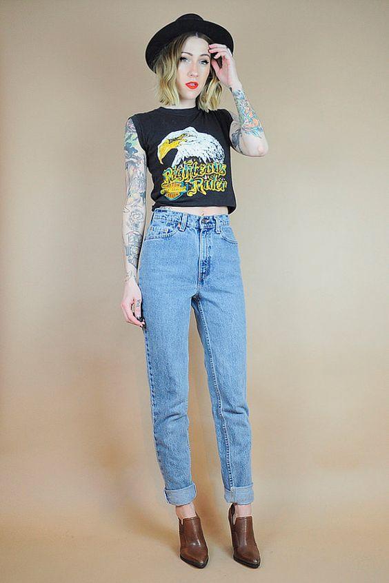 LEVI'S 512 Vintage High WAIST 80's Boyfriend Jeans TIGHT worn-in ...