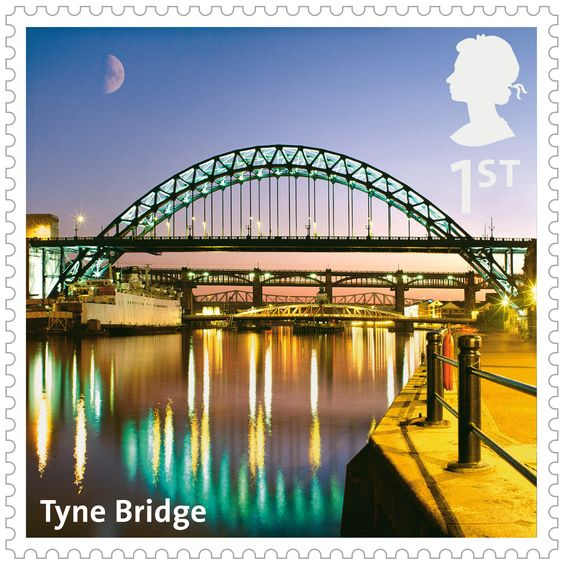 Royal Mail 1st Class postage stamp from a series about Bridges released in 2015. this one is the Tyne Bridge
