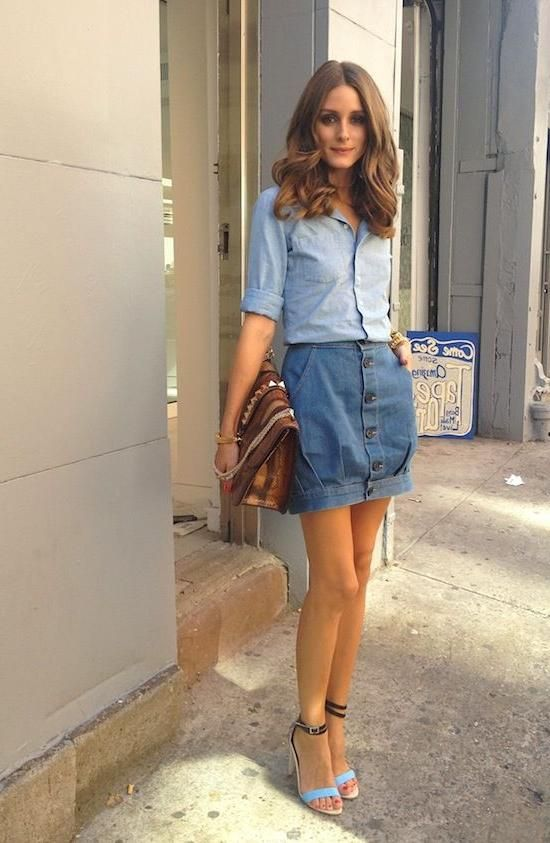 Olivia Palermo: Denim on Denim | Denim, Denim dress, Olivia