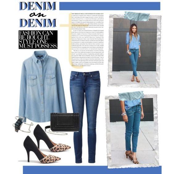 Denim on Denim by gabree on Polyvore featuring Uniqlo, Paige Denim, Madewell, Sam & Libby, Topshop, denim, Denimondenim, fashiontrend and paigedenim